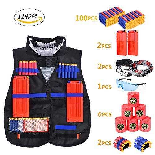 edcmart Kid's Tactical Vest Kit for Nerf Guns N-Strike Elite Series with Blood Meter, Darts, Reload Clips, Goggles, Mask, Wrist Band, Target Cans