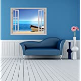 Creatick Studio Beautiful Beach Window Illution Wall Poster , Wallpaper , Wall Sticker Home Decor Stickers