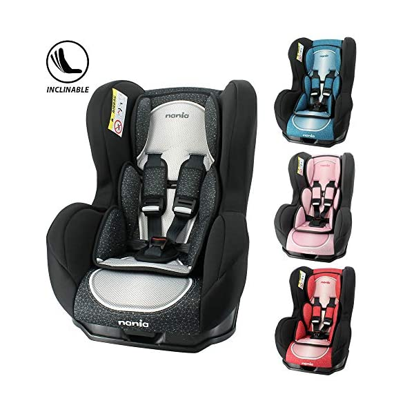 Child car seat Cosmo Grp 0/1 (0-18kg) with side protection - Nania Skyline black nania Cosmo car seat group 0/1 for children up to 18 kg approved according to ECE R44/04 standard. The Group 0/1 car seat provides comfort and safety for your child when travelling by car. It is positioned backwards to the road from 0 to 13kg, then facing the road from 9kg. It is a car seat manufactured, designed and tested in France under very strict regulatory conditions. It is equipped with side protection. 1