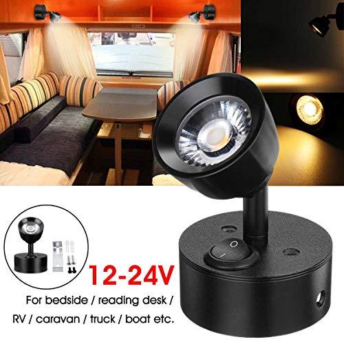 MASO - Lámpara de pared LED de 3 W, 12 V, para autocaravana, caravana, furgoneta, barco, interior