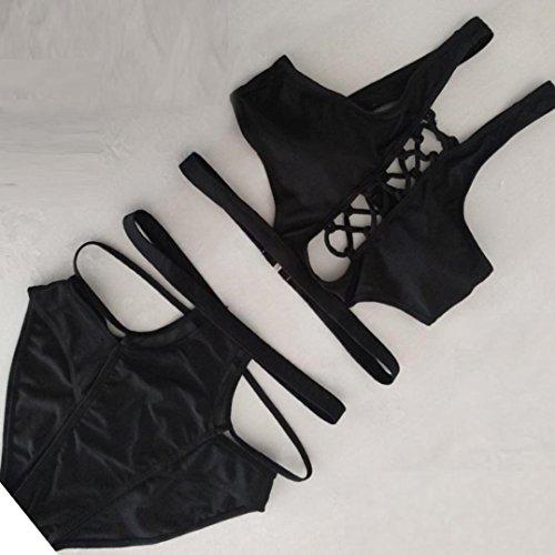 Femmes push-up rembourrés soutien-gorge Bandage Bikini [ maillot de bain femme 2 pieces ] Black