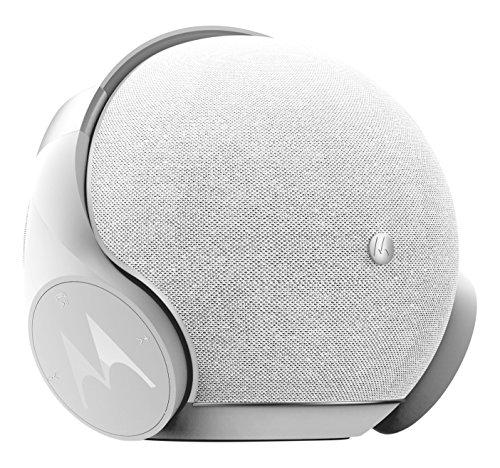 Motorola Sphere+ | Set 2-en-1 haut-parleurs et casque stéréo avec Bluetooth | Oreillette et kit mains libres | Alexa, Siri et Google Now | Blanc/Argent