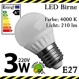 ALMIPEX E27 LED Lampe Birne 3W (210lm - 4500 K - Weiß - 6 x SMD - 270º Abstrahlwinkel - E27 Sockel - 230V AC - 3 Watt - Ø 45×75 mm)