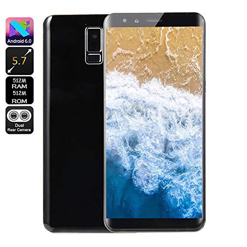Fulltime E-Gadget Smartphone, Neue Art und Weise 5,7 Zoll Doppel-HD Camera 512 MB RAM + 512 MB ROM,Android 6.0 IPS-VOLLER Schirm GSM/WCDMA-Touch Screen WiFi Bluetooth GPS 2G Anruf-Handy (Schwarz)