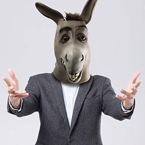 Esel Maske, Halloween Shrek Esel Gesichtsmaske, Neuheit Deluxe Kostüm Party Latex Tierkopf Maske für Erwachsene perfekt für Fasching, Karneval & Halloween - Kostüm für Erwachsene - Latex