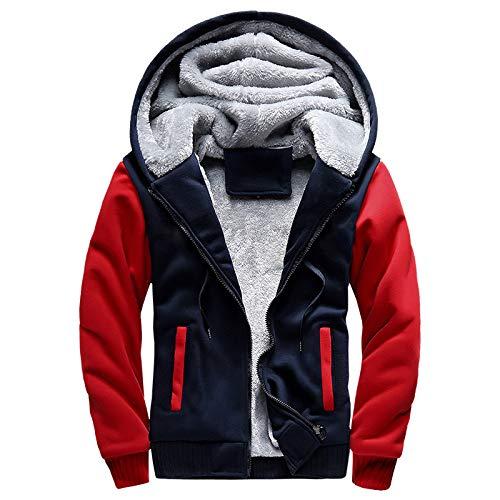 Generic Jacke Winter New Sports Herren Einfarbig Dicker Pullover Plus Samt ReißVerschluss Strickjacke Fight Color Kapuzenjacke Herren