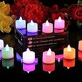 PK Green 12 Flammenlose Teelichter LED Kerzen mit Farbwechsel - Stimmungslichter Votivkerzen (+ Ersatzbatterien)