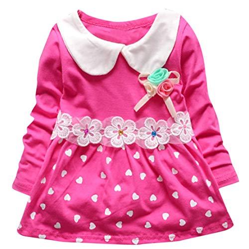 d Kind Baby Mädchen Langarm Floral Polka Dots Party Prinzessin Kleid (Pink, 12-18 Monate-L) ()