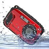 GordVEC 2,7 Zoll LCD Kameras 16MP Digitalkamera Unterwasser 10m wasserdichte Kamera + 8x Zoom (Red)