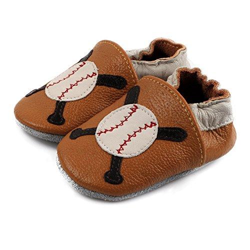 Free Fisher Baby Jungen/Mädchen Lauflernschuhe Krabbelschuhe Babyschuhe Lederschuhe Hausschuhe, Baseball auf Braun, 6-12 Monate