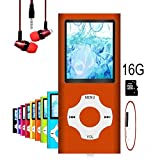 MP3 Player / MP4 Player, Hotechs MP3 Music Player with 16GB Memory SD card Slim Classic Digital LCD 1.82'' Screen MINI USB Port with FM Radio, Voice record (16G-Orange)
