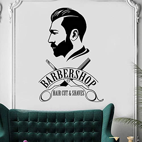 Barbershop Wandaufkleber Friseur Schaufenster Aufkleber Barber's Logo Wandbild Hair Salon Decor Abnehmbare Vinyl Hair Cut Aufkleber -84x58cm