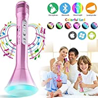 Microfono karaoke Wireless, Microfono bluetooth per Bambini, Portatile Karaoke Bluetooth Microfono Wireless Senza fili con Altoparlante per Cantare Ragazzi Ragazze Child iPhone Andriod iOS PC (Rosa)