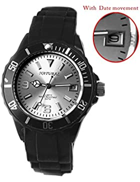 Alexis Uhren Quarz Unisex Runden Japan Miyota 2115 Date Movement Schwarz Weiches Silikonband Mattes Silber Dial...