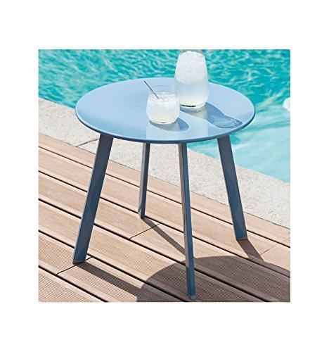 Table basse en acier - Utilisation extérieure et intérieure - Coloris BLEU Orage