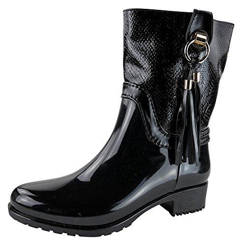 Damen Stiefel leicht gefüttert Boots ST14 Stiefeletten Gummistiefel Schwarz