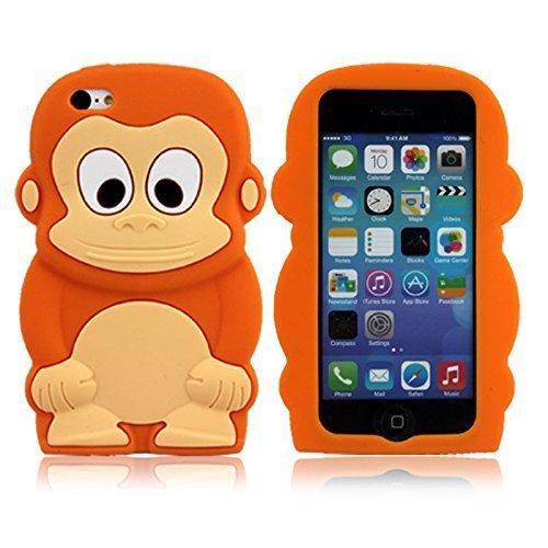 Apple iPhone 5C Silikon AFFE SCHWARZ Design Schutz Handy Hülle Case Tasche Etui Bumper thematys® Affe orange