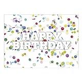Große XXL Glückwunschkarte A4 (Happy Birthday Konfetti) mit Umschlag - Edle Design Geburtstagskarte zum Geburtstag
