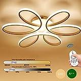 BEHWU LED 93W Bianco Plafoniera Creativo Forma di fiore Lampada da soffitto Acrilico Paralume in alluminio Moderno Soggiorno Lampada a soffitto L74cm*H11cm, Dimmerabile, 3000-6000k