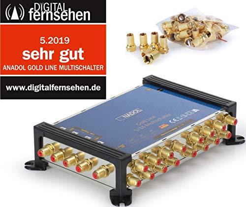 Anadol Gold Line 5/16 digitaler Multischalter [ Test SEHR GUT ] Multiswitch für 1 Satellit und 16 Ausgänge/Receiver - mit externem Netzteil - 21 vergoldete F-Stecker gratis