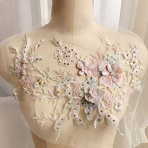 NANAD Stickerei Applikation, 3D bestickte Spitze Vintage Stil Applikation Floral Hochzeit Spitze...
