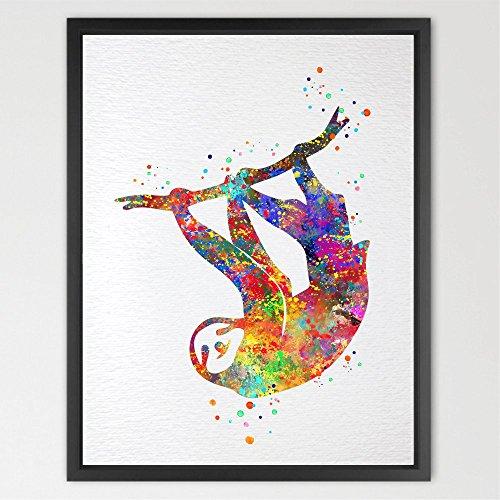 Dignovel Studios Poster mit Kunstdruck eines Faultiers in Wasserfarben, Faultier, Wandbild, Inneneinrichtung, Wandschmuck, Geschenk zu Geburtstag und Hochzeit, N432, ungerahmt, Papier, A4: 21.0 x 29.7cm