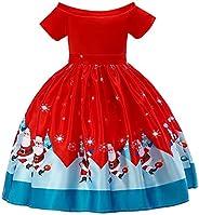 jieGorge Conjuntos y Conjuntos para niñas, niños pequeños, bebés, niñas, Estampado de Papá Noel, Vestido de Pr