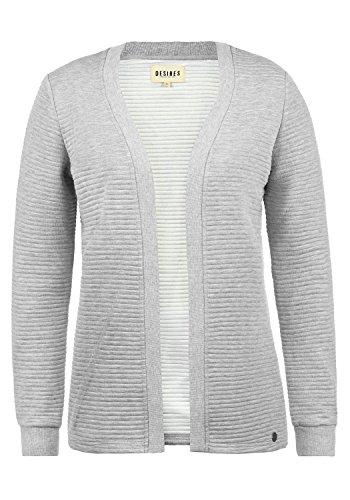 DESIRES Jorid Damen Cardigan Sweatjacke Sweatcardigan Mit Offenem V-Ausschnitt, Größe:XXL, Farbe:Light Grey Melange (8242)