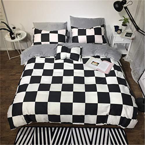 Schwarz Toile Bettwäsche (BFMBCH Neue Schwarze und weiße Baumwolle Plus Samt Bettwäsche Vier Sätze Baumwolle Kristall Kaschmir Leopard warm F 220cm * 240cm)