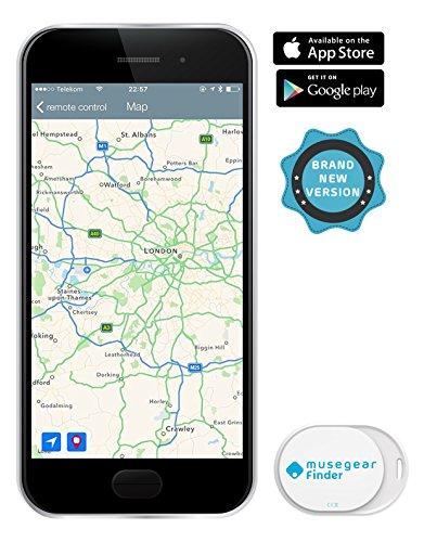 musegear® App Schlüsselfinder -mini - weiß - Schlüssel, Keys, Handy, Fernbedienung wieder-finden - Smartphone Bluetooth GPS Kopplung