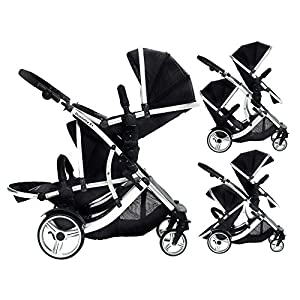 DUELLETTE BS Twin Double Pushchair Tandem Stroller buggy 2 seat units, compatible with Kids Kargo safety Pod Car seat OR maxi cosi clips or Britax Baby safety Car seat. (sold separately) 2 Free Magenta Pink footmuffs 2 Free rain covers Black Midnight/Silver chassis Ideal for Twins or Baby Toddler   6
