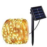 Cadena Luces Solares,LUXJET Impermeable Guirnalda de Luces Solar exterior,blanco cálido,Alambre de...