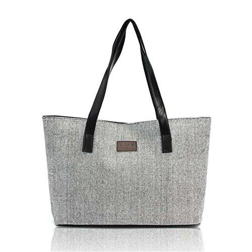 Longra Le donne di moda Canvas Handbag Shoulder Bags Shopping Lino Totes Casual (Grigio)