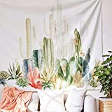 Jeteven Tapisserie Murale, Tenture Murale Mandala, Tapisseries Indiennes Imprimée avec Cactus Soleil Désert Tropical, Parfait pour Plage de Pique-Nique, Draps ou Nappe