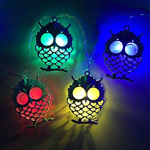 Led Lichterkette mit Batterie, AIDEAL (9.8ft/3M) 20 LED Eule Dekoration-Lichterkette für Innen- / Außenbereich, Haushalt, Garten, Bäume, Terrasse, Weihnachten / Halloween, Hochzeiten, Partys - In Baum Eule Halloween Einem