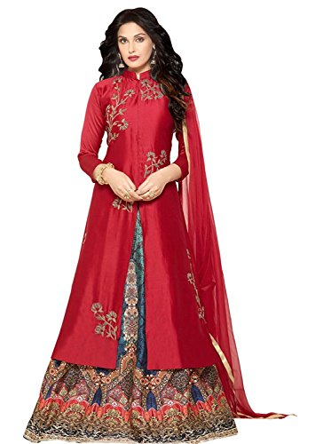 SHELINA Women's Red Silk Embroidered Semi-Stitched Partywear Salwar Suit