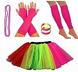 REDSTAR FANCY DRESS® Neon Tutu Skirt Leg Warmers Fishnet Gloves Necklace Beads and Neon Wrist Beads (8-12 UK, Rainbow)