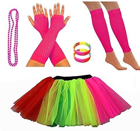REDSTAR FANCY DRESS® Neon Tutu Skirt Leg Warmers Fishnet Gloves Necklace Beads and Neon Wrist Beads (14-22 UK, Rainbow)