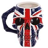 PUCKATOR nbsp;–Taza con diseño de calavera y bandera británica cerámica - Color azul, blanco y rojo