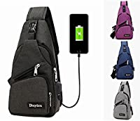 Pawaca Sling Chest Bags Shoulder Backpack Business Casual Crossbody Bag, Gym Backpack, Messenger Bag With USB Interface Rechargeable For Walking, Cycling, Travelling or Multipurpose Daypacks