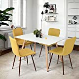 Coavas Dining Chairs Set of 4 Fabric Cushion Seat and Back Kitchen Chairs with Sturdy Metal Legs for Dining Room Chairs, Yellow