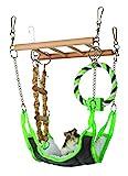 Holzleiter zum Einhängen  mit Hängematte in Nylon/Lammfell-Optik, Strickleiter und Tauring mit Holzklotz