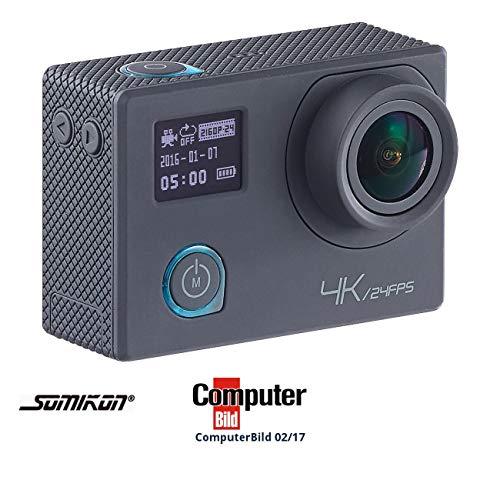 Somikon Aktion Cam: 4K-Action-Cam für UHD-Videos, 2 Displays, WLAN, 16MP-Sony-Sensor IP68 (Action Kamera)
