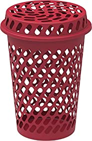 Cosmoplast Plastic Round Laundry Basket Tall with Lid, Dark Red, 75 litre, IFHHLA351DR