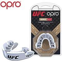 OPRO Protector bucal UFC Adulto para MMA, Boxeo, BJJ, Karate y Otros Deportes de Combate - 18 Meses de garantía Dental (Blanco, Nivel de Protección: Bronce)