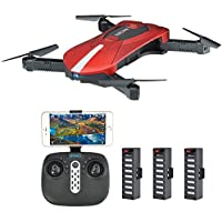 JD-018 Selfie Foldable RC Drone with Camera Live Transmission Wifi FPV APP Control Hover Auto Hover G-Sensor 3D Flip Headless Mode Quadrocopter for all Level Pilots, 3 Batteries, Remote Control, Red / Black - Compare prices on radiocontrollers.eu