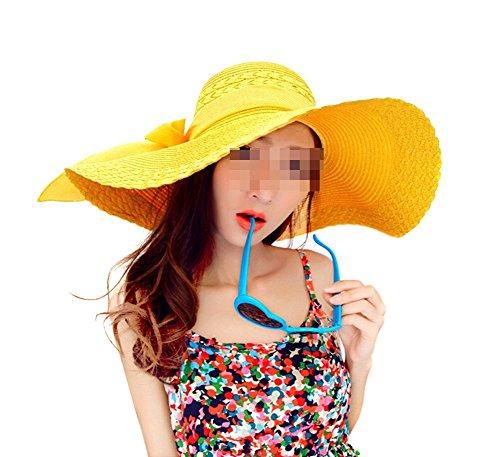 TININNA Fashion Femme Filles Wide Brim Floppy Chapeau Voyage Chapeau De Soleil Capeline Chapeau Paille à Bord Large Panama Boucle Jaune