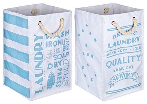 TOPP4u 2er Set Wäschekorb, Wäschesammler weiß - blau, 4 tolle Designs, Vintage, faltbarer Wäschesack mit 45 Ltr, 30x30x50 cm, langlebige und praktische Wäschebeutel (Wäschekorb-set)
