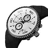Herren Sportuhr Großer Runder Tisch Kalender Quarzuhr Silikagel Uhrenarmband, Schwarz Silber Schale 123903 von Xtalax