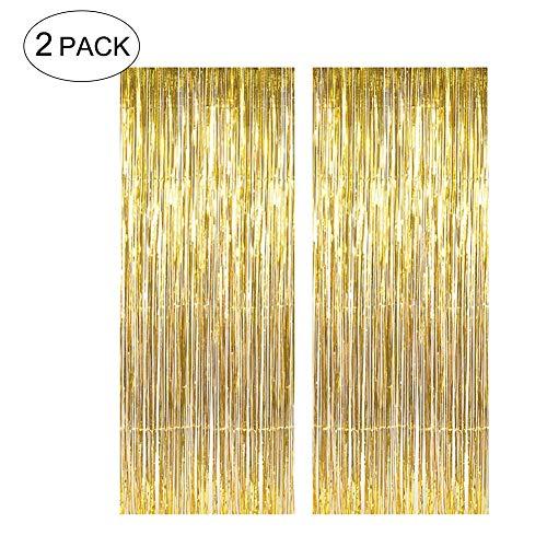LoveHome 2 x 1 m Metallic-Lametta-Folien-Vorhänge für Party, Foto, Hintergrund, Hochzeit, Dekoration